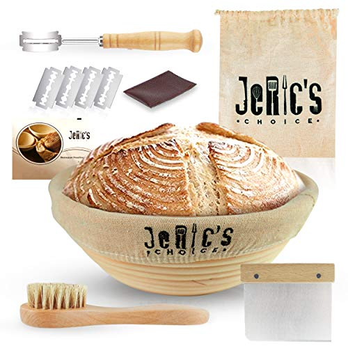 JeRic's Choice 9 Inch Banneton Proofing Basket Kit - Bread Rising Bowl with Liner | Wood Handle Stainless Steel Dough Scraper | Bread Lame | Cleaning Brush Tools - Round Sourdough Proofing Bowls