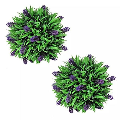 UnfadeMemory 2X Buchsbaum Kugel Buchskugel Kunstpflanze mit Lavendel Künstlich Buchsbaumkugel geeignet für den Innen- als auch Außenbereich Dekoration (Ø 28 cm)