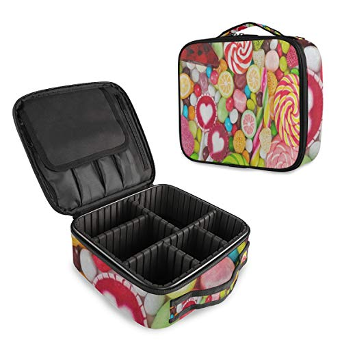 SLHFPX Travel Makeup Case Colorful Colored Lemon Candy Cosmetic Bag Box Professional Train Case Large Make Up Storage Organizer with Adjustable Dividers & Brush Section for Women Girls Hard Shell