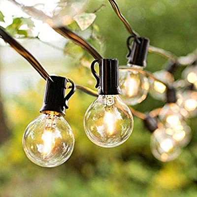 JMEXSUSS Outdoor String Lights 25ft G40 Patio String Lights with Clear Globe Bulbs,Waterproof Edison Vintage Bulbs UL Listed Commercial Grade Balcony Lights Connectable for Wedding, Gatherings,Black