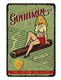 AOYEGO Pin Up Girl Tin Sign,Sex Women On Cigars with Letter Exclusive Party for Gentlemen Vintage Metal Tin Signs for Cafes Bars Pubs Shop Wall Decorative Funny Retro Signs for Men Women 8x12 Inch