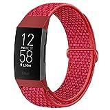 Runostrich - Cinturino in nylon compatibile con Fitbit Charge 4/Charge 3/SE, morbido cinturino di ricambio traspirante sportivo con cinturino per donne e uomini (rosso cinesa)