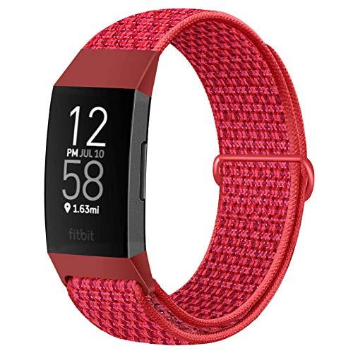 Runostrich Correas de reloj de nailon compatibles con Fitbit Charge 4/Charge 3/SE, correa de repuesto suave transpirable con correa para mujeres y hombres (rojo chino)