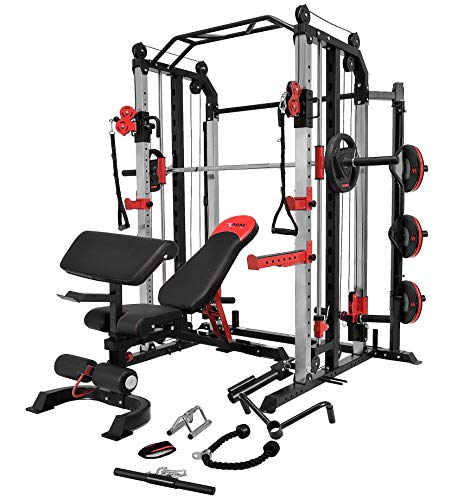 MiM USA Commercial Hercules 1001 Jumbo | Smith Machine & Functional Trainer | Power Cage | Leg Press | Dip Chin & Jammer Arms | Adjustable Weight Bench W/Leg Extension | Full Accessories
