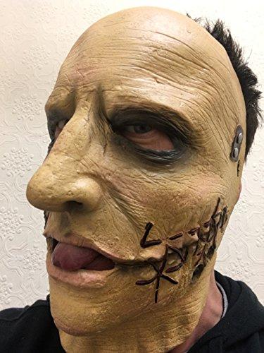 Rubber Johnnies TM Slipknot Masque en latex Corey Taylor avec bande en métal pour visage de peau morte