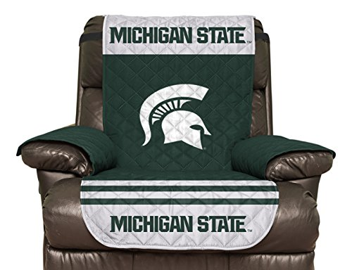 NCAA Michigan State Spartans Recliner Reversible Furniture Protector with Elastic Straps, 80 X 65 Inches
