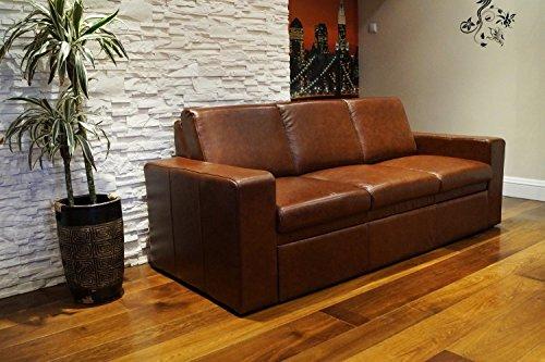 Quattro Meble Echtleder 3 Sitzer Sofa Atlanta FS Breite 200cm mit Schlaffunktion Ledersofa Echt Leder Couch große Farbauswahl !!!
