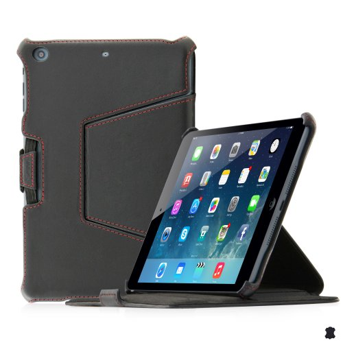 LEICKE Manna - Custodia per Apple iPad Mini 3, iPad Mini 2 Retina Display e iPad Mini in vero cuoio genuino Meerana, Nero lucido | Design ultra sottile con cuciture in contrasto rifinite a mano - Funzione Easy Stand e Auto Sleep e impugnatura CleverStrap