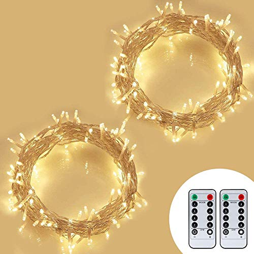[Remote & Timer]2 Pack Koopower Christmas Fairy Lights Outdoor, 100 LEDs 10M Battery Operated Fairy Lights Waterproof String Lights for Christmas Tree Wedding Party Bedroom Garden Festival Warm White