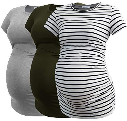 Smallshow Damen Umstandsmode Tops Seitlich Geraffte Schwangerschafts Umstandstop 3er Pack Army Green-Light Grey-White Stripe Medium