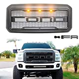 ALL4ROLL Front Grill for F250 Compatible with Ford 2011 2012 2013 2014 2015 2016, Grille Replacement Amber LED Lights Included, Raptor Style Grill, Grey