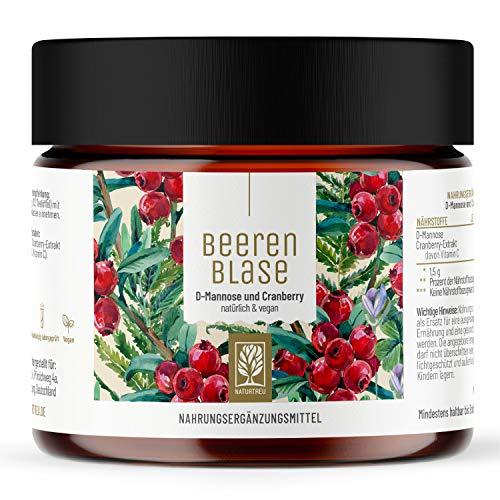 Beerenblase - 2 in 1 Cranberry D Mannose Komplex als Trinkpulver - Enthält 1000mg D-Mannose Pulver & 500mg Cranberry Extrakt je Tagesdosis - Vegan, hochdosiert und GMO-Frei