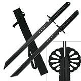 2PC Combo Full Tang 28' Tanto Ninja Katana Twin Sword Machete w/Nylon Sheath + Black Chinese Engraved on Blade Edition
