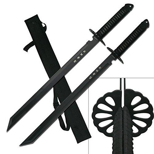 "2PC Combo Full Tang 28"" Tanto Ninja Katana Twin Sword Machete w/Nylon Sheath + Black Chinese Engraved on Blade Edition"