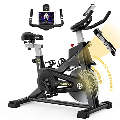 pooboo Indoor Cycling Bike with Magnetic Resistance Exercise Bikes Stationary,Silent Belt Drive with LCD Monitor & Comfortable Seat Cushion for Home Cardio Workout