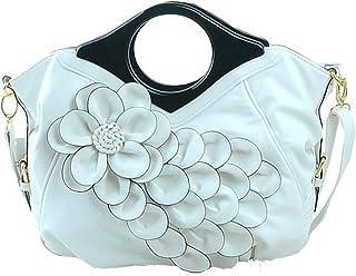 Trendy Lady Flower Bag Ethnic Style Handbag Solid Color Flower Shoulder Bag Zgywmz (Color : White, Size : 40 * 14 * 34cm)