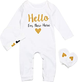 Newborn Baby Boys Girls Romper Hello I'm New Here Bodysuit Jumpsuit with Hat Outfits Sets