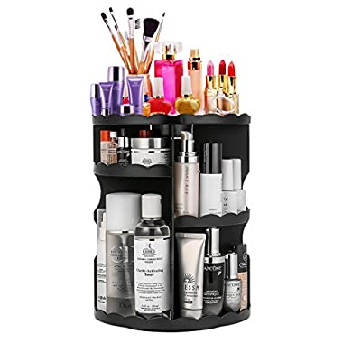 360-Degree Rotating Makeup Organizer, Adjustable Multi-Function Cosmetic Storage Unit, Compact Size with Large Capacity, Fits Different Types of Cosmetics and Accessories, Black