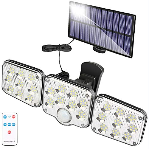 Foco Solar Exterior con Sensor de Movimiento, Lampara Solar Exterior con 130...