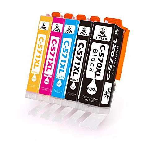 feier PGI-570 XL CLI-571 XL, cartucce di inchiostro sotitutive per Canon PGI 570 CLI 571, per stampanti Canon PIXMA MG5750 TS5050 TS5053 TS6050 TS6051 TS5051 TS6052 TS5055 MG5700 MG5751 MG5752 MG6850