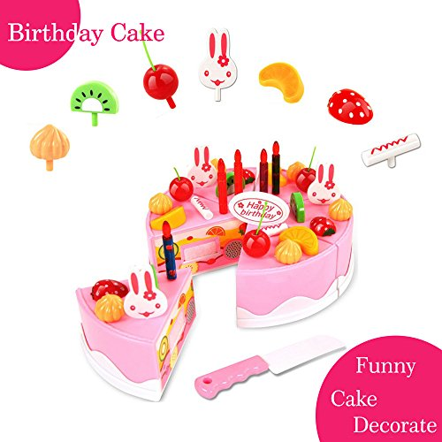 BigNoseDeer Play Birthday Cake Childrens Day Gift Play Food Toy Set DIY Cutting Pretend Play Birthday Party Cake with Candles for Children Kids Classic Toy 37pcs(New Outer Package)