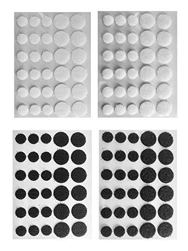 Eroilor Doppelseitig Klettpunkte Klebende Klettverschluss-Aufkleber, über 10.000 Mal selbstklebendes DIY-Werkzeug, 12 mm und 15 mm Durchmesser Schwarz und Weiß - 60 Paare