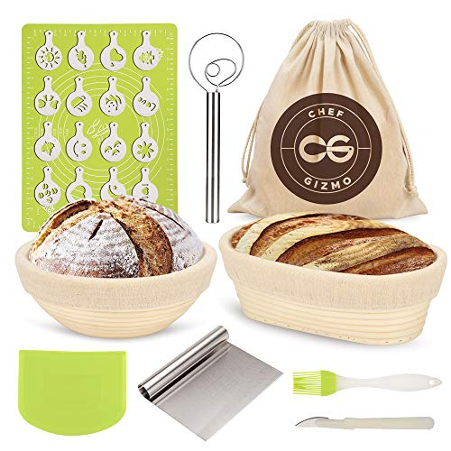 Banneton Bread Proofing Basket Set For Baking Dough - Proofer Set of 2 Brotform Proofing Bowls in Cane - 9 inch Round - 10' Oval- For Rising Sourdough - Bread Making Kit -with Lame, Scraper and Tools.