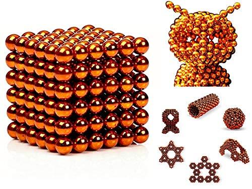 SENBAO Magnet Balls Multicolored Powerful Creative Rainbow Cube Tactile Office Desktop Toys Sculpture Entertainment (Orange-5MM-216PCS)