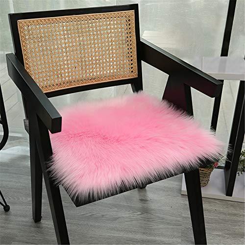 RAILONCH Kunstfell Plüsch Sitzkissen, Flauschige Sitzauflage, Stuhlhussen, Bürostuhlkissen Schülermatte, Sofa Matte (Rosa,45×45cm)