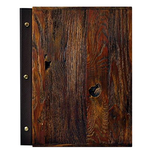 Porta-menù in legno Dimensioni A4 Ristorante Pub Display da esposizione Finitura in pelle (Rusty)