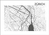 Posterlounge Lienzo 70 x 50 cm: City Map of Zurich de 44spaces - Cuadro Terminado, Cuadro sobre Bastidor, lámina terminada sobre Lienzo auténtico, impresión en Lienzo