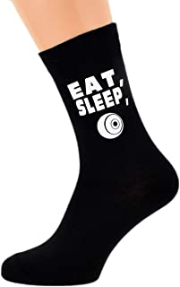 Eat Sleep Playing Lawn Boules with Bowl Image Design Mens Black Cotton Rich Socks
