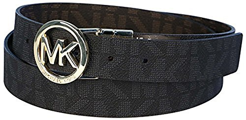 MICHAEL Michael Kors Belt with Silver MK Logo Plaque, Brown and Black,...