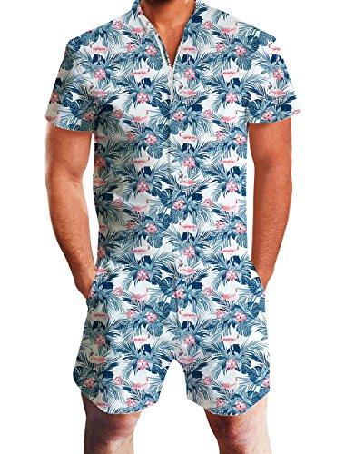 Goodstoworld Herren Romper Kurz 3D Druck Sommer Zipper Anzug Grandad Shirts Overall Onesie Jumpsuit Tropical Leaves XXL