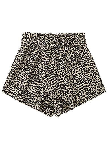 Romwe Women's Leopard Print Elastic Waist Belted Casual Summer Beach Shorts Multicolor#17 X-Large