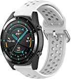 Correa de Reloj de Silicona Suave Compatible con Huawei Watch GT 2 (42mm) / Honor Watch Magic 2 (42mm), Repuesto Ideal (20mm, Blanco)