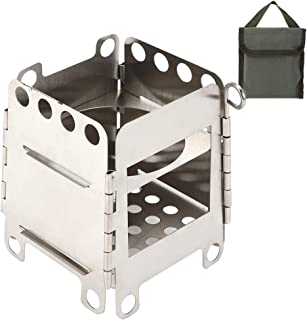 Folding Stove,Portable Stainless Steel Folding Stove Wood Burning Stove for Outdoor Picnic BBQ Camping Hiking Camping Stove