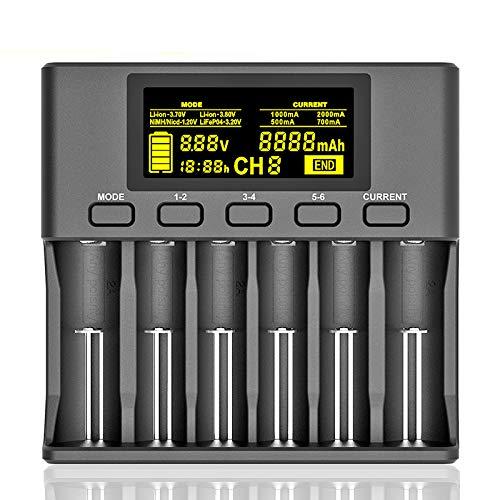 HLL LII-S6 18650 Batterie Au Lithium Chargeur 6-Slot Auto Detect-Polarité pour 3.7V 26650 21700 32650 1.2V AA Piles AAA