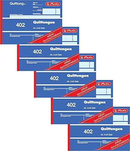 Herlitz Quittungsblock 402, selbstdurchschreibend, A6 quer, 2 x 40 Blatt (5 Stück)