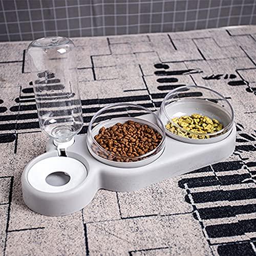 Laoonl - Ciotola per cibo per cani, gatti e gatti, girevole a 360°, inclinabile a 15°, 3 in 1, con erogatore automatico di acqua per cani e gatti di piccola taglia