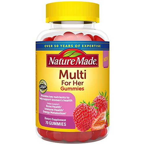 Nature Made Multivitamin for Her Gummies, Multivitamin for Women, 13 Key Nutrients to Help Support Immune & Bone Health, Energy Metabolism, Excellent Source of Folic Acid, 70 Multivitamin Gummies