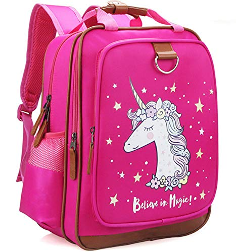 Backpack for Girls 15' | Pink Kids School Book Bag for Kindergarten or Elementary Book Bags (Pink Unicorn)
