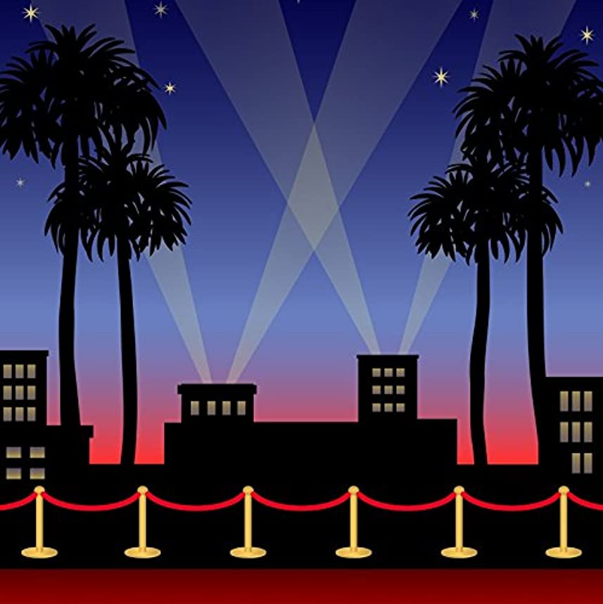 Baocicco Hollywood Red Carpet Night Sky Backdrop 5X5ft Cotton Polyester Photography Background Sparkling Star Academy Award Showing Sporting Motion Picture Premiere Film Movie TV Play Video