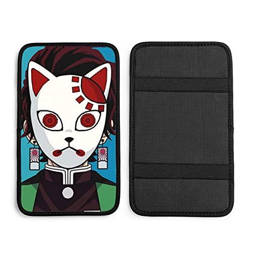 Demon Slayer Kamado Tanjirou - Máscara de guardarropa para coche, caja de pasamanos de coche, cojín de consola central, almohadilla de asiento de coche, protector universal