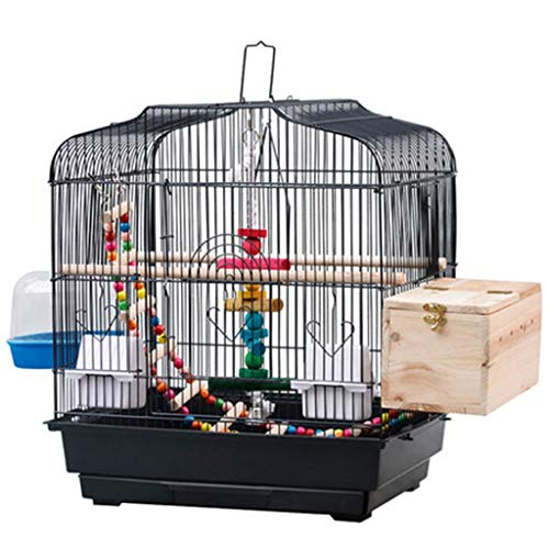 Käfige & Laufställe Hundehütten Schwarzmetall Vogelkäfig Schmiedeeisen Großer Vogelkäfig Papageienkäfig Vogelkäfig Zubehör Zucht Vogelkäfig Mit Badewanne (Color : Black, Size : 46 * 36 * 52cm)