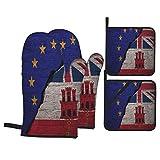 Juegos de Manoplas y Porta ollas para Horno,Banderas del Reino Unido, Gibraltar y la Unión Europea en la Guantes de Cocina Resistentes al Calor para Hornear en la Cocina, Parrilla, Barbacoa,BBQ