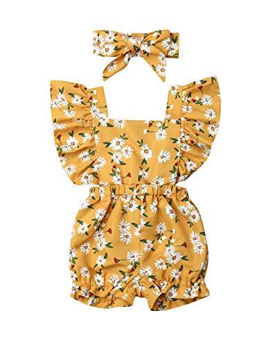 Body macaquinho floral para meninas recém-nascidas, 2 peças, manga flare, verão, 0 a 24 meses, Yellow-daisy, 6-12 meses