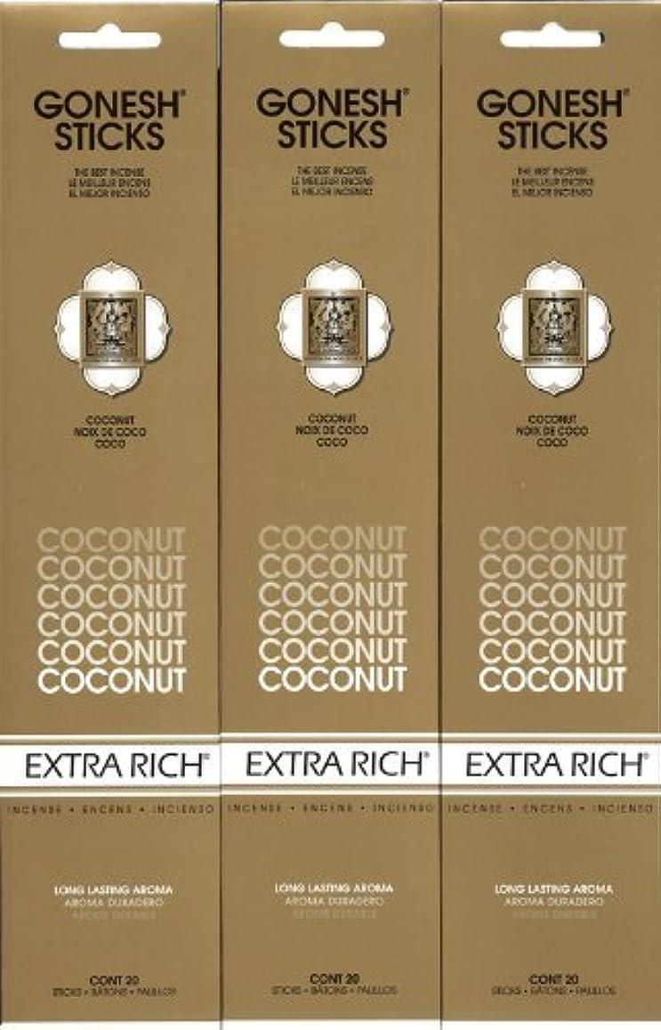 冷淡な時制自伝GONESH  COCONUT ココナッツ スティック 20本入り X 3パック (60本)