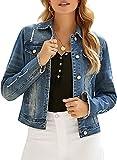 Luyeess Women's Casual Long Sleeve Button Down PocketsBasic Stretch Ripped Denim Jean Jacket Blue Size XX-Large
