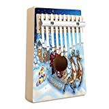 Christmas Kalimba 10 Keys Thumb Piano Santa in Sleigh with Reindeer and Toys in Snowy North Pole Tale Fantasy Image Portable Mbira Sanza African Wood Finger Piano Gift for Kids Adult Beginners Profe